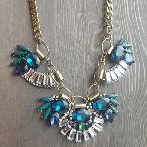 Jewelmint - blue, green and diamond bib necklace